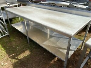 Heavy Duty 95 5 X 37 5 Commercial Stainless Steel Polytop Meat Cutting Table