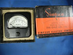 nos Vintage Simpson Decibel Panel Meter Model 147 In Box