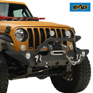 Eag Front Bumper With Fog Light Hole Winch Plate For 18 21 Jeep Wrangler Jl