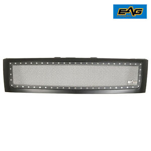 Eag Fit 07 13 Chevy Silverado 1500 Rivet Black Steel Wire Mesh Grille Abs Shell