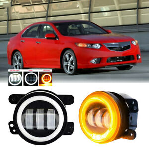 Led For Acura Tsx 11 14 Clear Lens Pair Bumper Fog Light Lamp Oe Replacement