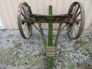 Primitive Farm Wagon Axle With 42 Diameter Wheels