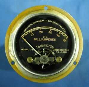 Vintage Burlington Model 321 Dc 0 50 Milliamperes Brass Panel Meter free Ship
