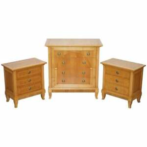 Rrp 6000 Selva Italy Walnut Bedroom Suite Of Chest Drawers And Bedside Tables