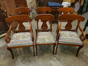 Henkel Harris 6 Solid Black Cherry Dining Chairs Very Nice Condition