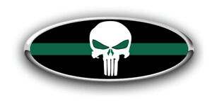 Fits Various Ford Models Punisher Thin Green Line Logo Overlay Decals 3pc Kit