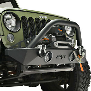 Fit For 2007 2018 Jeep Wrangler Jk Stubby Front Bumper W Led Lights