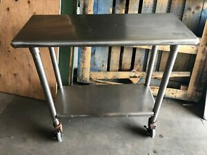 Heavy Duty 36 X 15 Commercial Stainless Steel Prep Work Table Stand On Casters