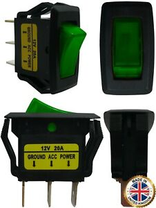 4 Green Light Illuminated On Off Rocker Switches 12v 20a Spst Car Boat