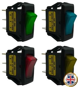 4 Piece Green Blue Red Amber Illuminated On Off Rocker Switch 12v Spst Kit