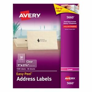Avery Easy Peel Permanent Laser Address Labels 5660 1 X 2 5 8 Clear Pack