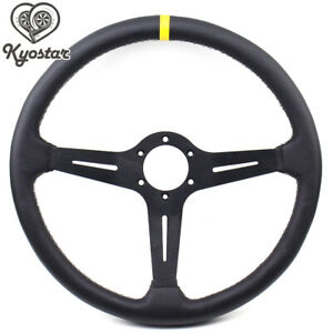 15inch Black Steering Wheel Deep Corn Perforated Leather 380mm Classic Wheel New