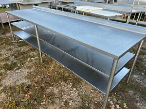Heavy Duty 10 X 31 5 Commercial Stainless Steel Large Work Table W 2 Shelves