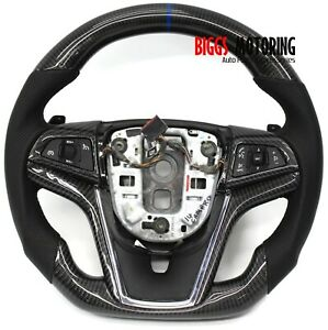 Fits 2014 Chevy Camaro Custom Carbon Fiber Leather Flat Bottom Steering Wheel