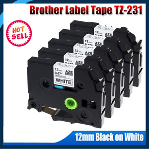 5pk Brother P touch Tze 231 Tz 231 12mm Black On White Standard Laminated Tape