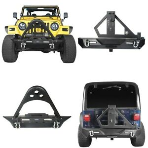 Front Bumper Rear Bumper W tire Carrier Linkage For Jeep Wrangler Tj 1997 2006