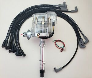 Chevy 350 Clear Cap Hei Distributor 8 5mm Black Plug Wires Over Valve Covers