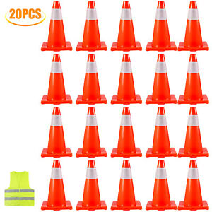 Traffic Safety Cones 20 Pcs Pvc Parking Cones 18 Warning Roads Construction