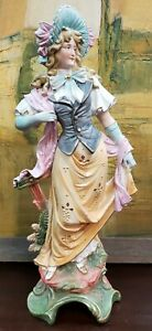 Late 19th Century German Bisque Victorian Woman Figurine