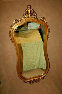 Antique 46 Tall French Style Wood Gilt Hourglass Framed Hanging Wall Mirror