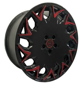 4 Gv06 20 Inch Staggered Black Red Rims Fits Ford Mustang Boss 302 2012 2014