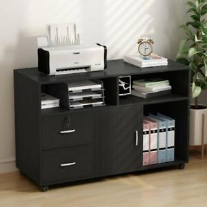 39 l Printer Stand Mobile Lateral Filing Cabinet With 2drawers Storage Shelves