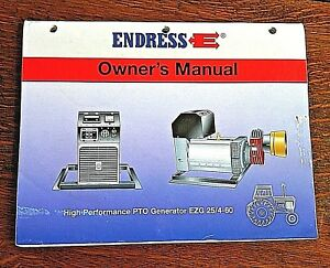 Endress Pto Generator Owner s Manual Ezg 25 4 60 Power Book Electric Tractor Jd
