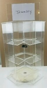 4 Sided Acrylic Jewelry Locking Display Case Counter Top Spinner 16 5 X 12