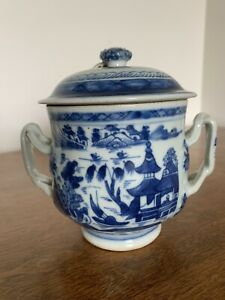 Antique Chinese Canton Blue White Porcelain Sugar Bowl With Lid 18c