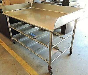 5 Ft Stainless Steel Rolling Work Table 6 Back Splash And Tray Holders Below