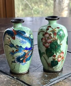 Antique Cloisonne Vase Pair Chinese Marking Flower Dragon Vase Rare