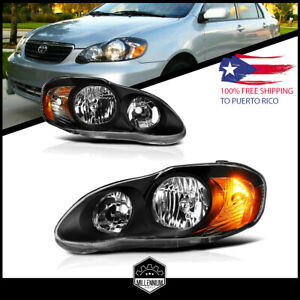 For 2003 2008 Toyota Corolla Replacement Black Headlights Focos Head Lamps Lh Rh
