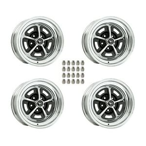 Magnum 500 Wheels Kit With Black Mustang Wheel Caps And Lug Nuts 15x6