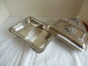 Antique Cheltenham Co England Silver On Copper Lidded Entree Serving Dish Tray