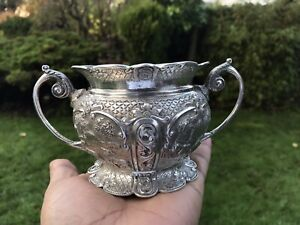Antique Indian Silver Sugar Pot Or Rose Bowl Bombay 1900 271 Gms Superb