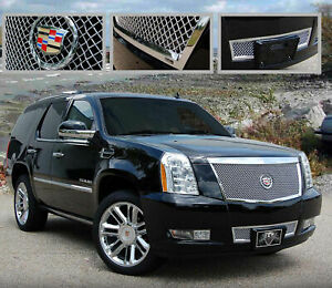 2pc Mesh Chrome Grille Fits 2008 2014 Escalade Platinum And Esv