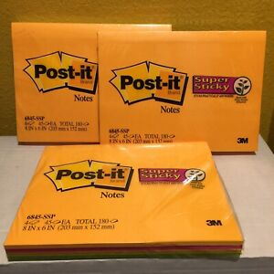 Post it 6845 ssp Super Sticky Notes 6x8 In Pk4 Lot Of 3