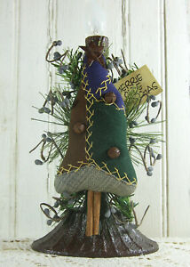 Early Lighting Primitive Christmas Tree Early Quilt Grubby Electric Candle Lamp