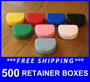 500 Mixed Colors Denture Retainer Box Orthodontic Dental Case Mouth Ortho Brace