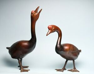 Antique Bronze Japanese Pair Geese Goose Okimono Sculptures Statues Meiji Signed
