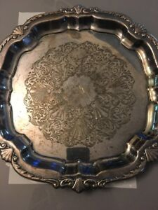 Wma Rogers Silver Plate Tray Beautiful Design Serving