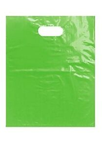 Plastic Shopping Bags 1000 Lime Green Retail Merchandise 12 X 15 Diecut Handles