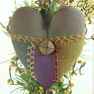 Early Lighting Primitive Heart Antique Crazy Quilt Grubby Electric Candle Lamp