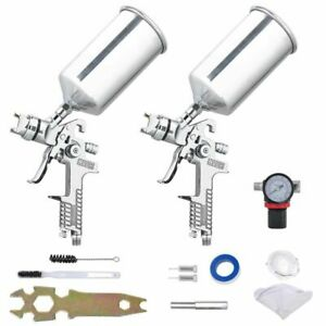 6pc 1 3 1 8 Hvlp Air Spray Gun Kit Auto Paint Primer Basecoat Clearcoat Gravity