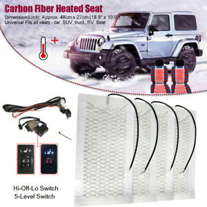 5 Level Car Carbon Fiber Heated Cushion Seat Heater Pad Hi Off Lo Switch Kit 12v