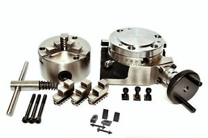 Rotary Table 4 Inch Or 100mm With Backplate And 80mm Lathe Chuck For Milling