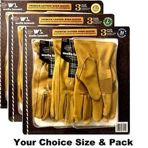 Wells Lamont Premium Cowhide Leather Work Gloves Your Size pack Choice