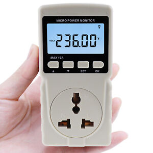 Wattmeter Power Meter Energy Electricity Usage Monitor Frequency Voltage Current
