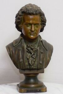 Victorian French Bronze Spelter Bust Mozart Statue Sculpture Piano Classical