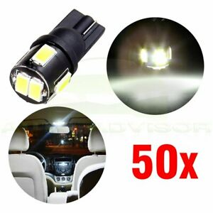 50x White 6 5730 smd License Plate Lights Number Plate Led Bulbs T10 168 194
